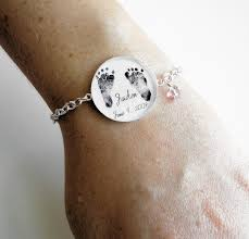 s day bracelet with birthstones s bracelet sterling silver your baby s actual footprints and