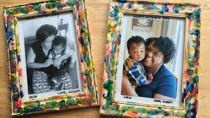 christmas craft idea finger painted picture frame veda day 28