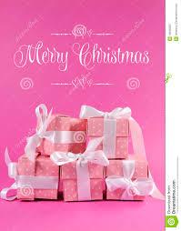 stack beautiful pink polka dot gift presents merry