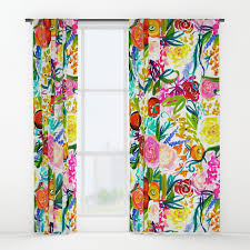 Bright Shower Curtain Bright Colorful Floral Painting Window Curtains By Melissapolomsky