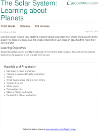 the solar system learning about planets lesson plan education com