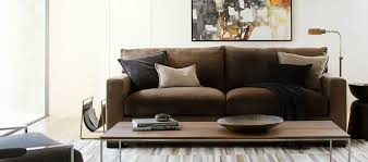 living room tan brown leather mid century sofas for home