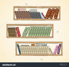 hand drawn vector books on the bookshelves library and shelf save