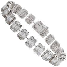 set bracelet images Emerald cut diamond white gold tennis bracelet illusion set for jpg
