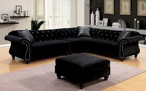 sectional sofas with ottoman furniture of america jolanda ii black rolled arm sectional sofa