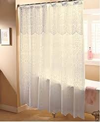 Fabric Shower Curtains With Valance Amazon Com Ricardo Romance Lace White Lace Fabric Shower Curtain