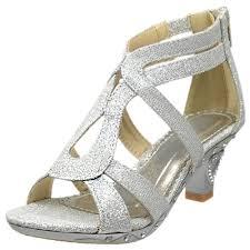 kids dress sandals glitter cutout heart high heel pageant shoes