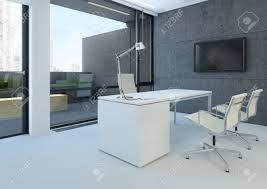 bureau moderne blanc un bureau moderne blanc avec des murs en béton banque d images et