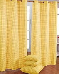cotton gingham check yellow ready made eyelet curtains homescapes