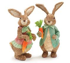 easter rabbits decorations sisal easter bunny set