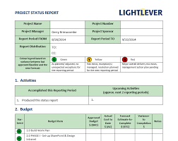 project status report template lightlever