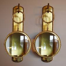 vintage pair solid brass wall candle sconces swedish country brass