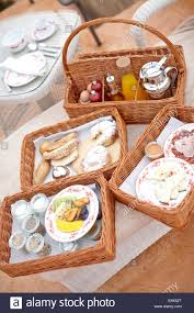 breakfast basket breakfast basket as room service hotel cap rocat ctra stock