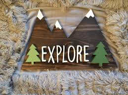 Family Wood Sign Home Decor Explore Mountains With White Peaks And Green Pine Trees Custom