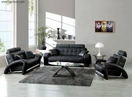 Unique Leather Sofa Modern And Unique Black Leather Sofa Set With Silver Backwall