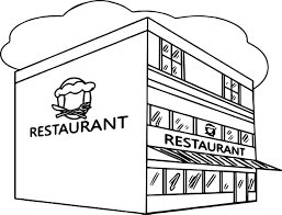 restaurant building great restaurant coloring page wecoloringpage