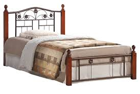 metal wood combo full size bed frame and headboard decofurnish