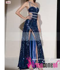 sequin royal blue prom dresses with slit backless open back fitted