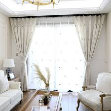 Embroidered Linen Curtains Beige Elegant Linen Embroidered Feather Curtains