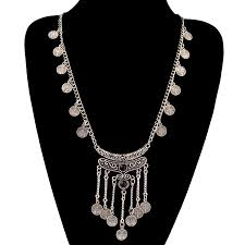 silver tassel long necklace images Long bohemian antique silver coins and tassels necklace for women jpg