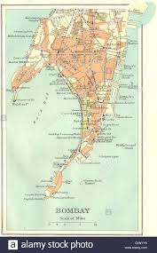 Mumbai Map British India Bombay Mumbai City Plan Key Buildings Docks Stock
