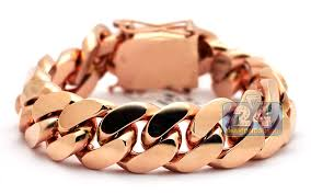 mens rose gold bracelet images 14k rose gold miami cuban link mens bracelet 19 mm 9 inches jpg