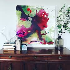 bright pink and green original painting