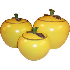 retro kitchen canisters set golden delicious apple canister set golden delicious apple
