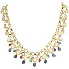 sapphire pearl necklace images Blue sapphire emeralds rubies and diamonds pearl necklace for sale jpg
