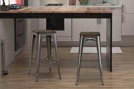 White Metal Bar Stool Furniture Vintage Bar Stool Industrial Metal Design Wood Top