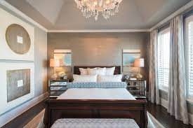 mirrored nightstand in bedroom contemporary with large mirror in