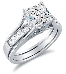 white gold bridal sets size 10 solid 14k white gold bridal set princess cut