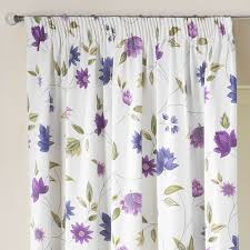 charlotte lavender print lined pencil pleat curtains pair