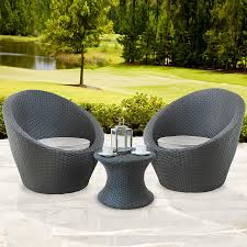 Egg Bistro Chairs Monaco 2 Seater Stackable Egg Patio Set Rattan Grey Rattan