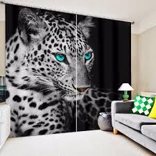 3d leopard blue eyes print custom design curtain fabric digital