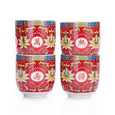 set of 6 eastern asian design ceramic tea cups in red longevity