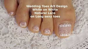 wedding toes art design white on white natural lace toes