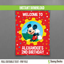 mickey mouse clubhouse birthday invites disney mickey mouse clubhouse birthday welcome sign instant