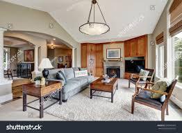 classic living room interior large windows stock photo 502349404