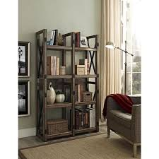 altra wildwood rustic metal frame bookcase room divider free