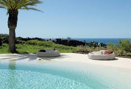 ideas modern pools and round outdoor bed with cushions plus green