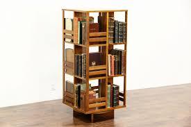 Oak Revolving Bookcase Midcentury Modern 1960 U0027s Vintage Teak Spinning Or Revolving