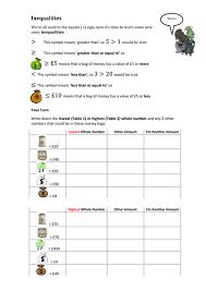 inequalities worksheets by mej teaching resources tes
