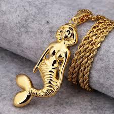 aliexpress buy nyuk new fashion american style gold nyuk new design gold beautiful mermaid pendant necklaces 75cm chain