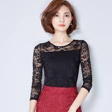 click to buy u003c u003c white shirt black lace blouse winter tops women