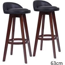 dark oak bar stools 2x naomi pu leather bar stools black dark wood 63cm wooden bar