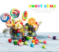 easter egg gum multicolored lollipops candy and chewing gum in glass jar on a