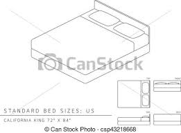 Standard Bed Dimensions Clip Art Vector Of Standard Bed Sizes Of Us United States Of