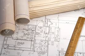 blueprints for new homes architectural blueprints of new homes and communities stock photo