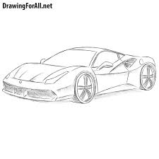 ferrari sketch side view how to draw a ferrari drawingforall net
